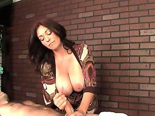 Massaging domina ruins customers orgasm