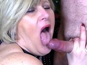 Mature Step Mom gives Long Sloppy Blowjob and is Rewarded with Mouthful of Cum