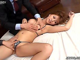 Asian whore Hotaru Akane gets fingerfucked by dude in mask