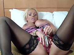 brit busty blonde milf frolicking pussy play in crotch less pink undies