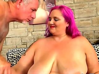 Wild Fatty Sara Star Rides an Old Dick