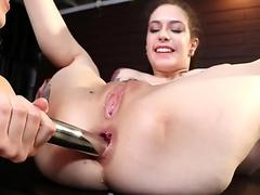 Hot babes Anna DeVille and Chloe Cherry get their asses fucked good