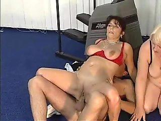 Two sluty grammies using their pussy and mouths to service a young boy