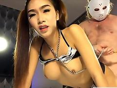 Teen ladyboy enjoys sucking dick and anal doggystyle