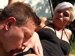 Busty ladyboy in a sundress gets her ass fucked hard