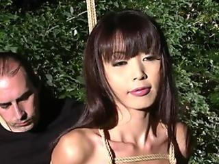 Submissive Asian babe Marica Hase gets tied up