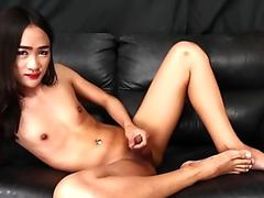 Horny asian ladyboy masturbates hard
