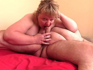 my huge-boobed wife sucks my dick and gets cum in her mouth and on gigantic hooters