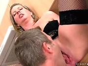 Lisa shares dick in passionate home threesome