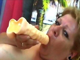 Busty granny riding fat stiff dick