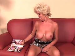 kinky grandmother reading porno magazine until she gets raw