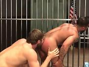 Buff ebony prisoner rides