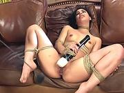 Hairy slave fucked on the sofa