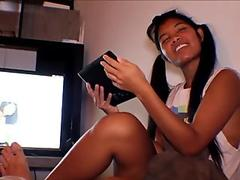 Thai Teen Heather Deep gives deepthroat throatpie for new laptop tablet