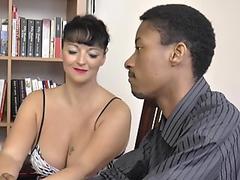 Husband fucks wife and busty maid bdsm