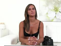 FakeAgent Stunningly hot brunette fucks for model job on camera