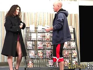 Brunette tramp sucks big black cock