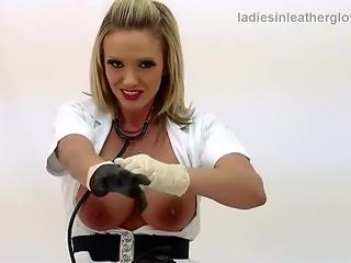 blond cougar Lucy Zara milking in nurses outfit wearing leather gloves