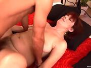 Dirty mature bitch Bara gives deepthroat blowjob to Richy and gets nailed in a missionary position