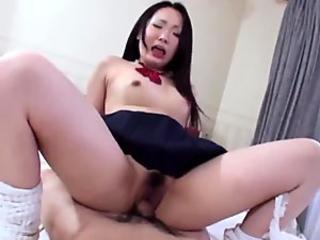 Mizuki is blushing while having gonzo hump with her instructor