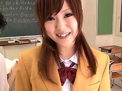Japanese schoolgirl sucking cock in classroom
