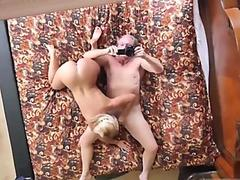 Old daddy fucking blonde slut