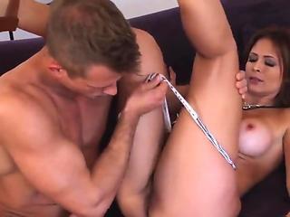 Extremely hot latina milf Monique Fuentes sucks young Bill's Bailey cock