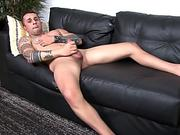 Soldier hunk wanking on his back