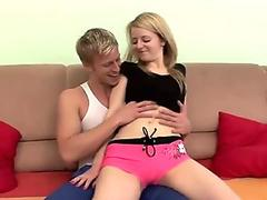 CUTE BLONDE RIDES A HARD AND LONG DICK